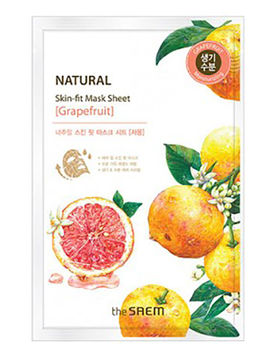 Маска тканевая грейпфрут Natural Skin Fit Mask Sheet Grapefruit, 20 мл, The Saem