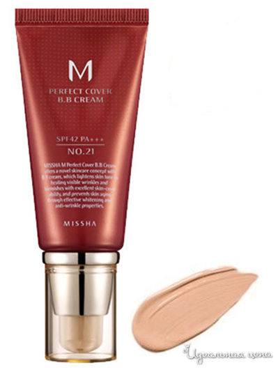 Крем тональный M Perfect Cover BB Cream SPF42, PA+++, тон 21 Light Beige, 50 мл, MISSHA